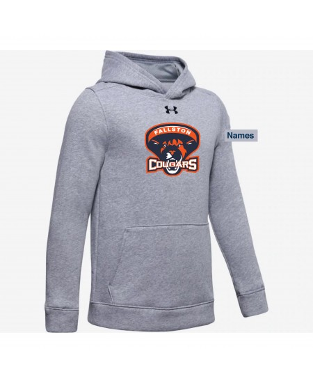 Fallston Lacrosse Adult and Youth Under Armour Hustle Fleece Hoodie- True Grey