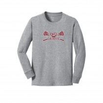 Lowell Lacrosse Youth LS Core Cotton Tee- Athletic Grey