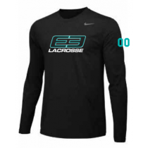 E3 Girls Lacrosse Men's and Youth Nike Legend LS Tee- Black