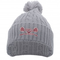Lowell Lacrosse Cable Knit Pom Beanie- Silver