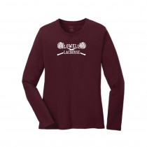 Lowell Lacrosse Youth LS Core Cotton Tee- Maroon